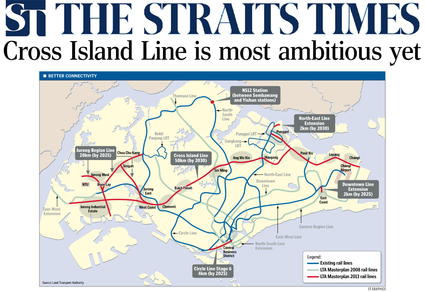 The Straits Times 2013 - Cross Island Line is most ambitious yet