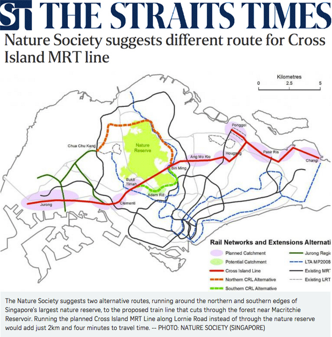 The Straits Times 2013 - Nature Society suggests different route for Cross Island MRT line