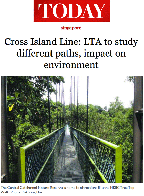 Today 2013 - Cross Island Line: LTA to study different paths, impact on environment