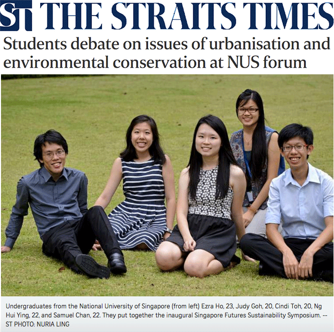 The Straits Times 2013 - Students debate on issues of urbanisation and environmental conservation at NUS forum