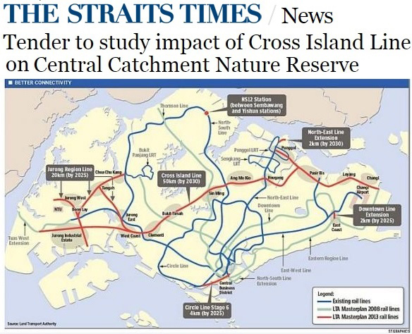 The Straits Times 2013 - Tender to study impact of Cross Island Line on Central Catchment Nature Reserve