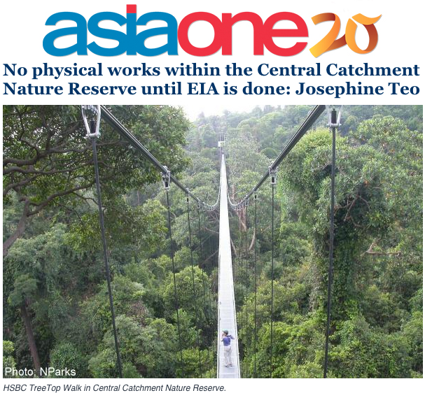 Asiaone 2014 - No physical works within the Central Catchment Nature Reserve until EIA is done: Josephine Teo
