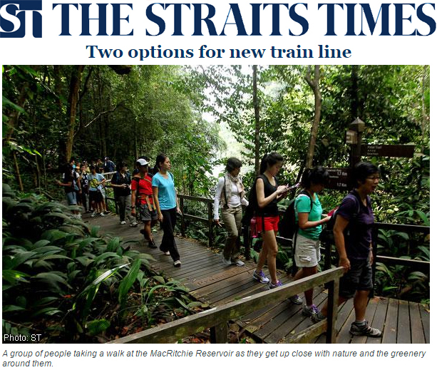 The Straits Times 2014 - Two options for new train line