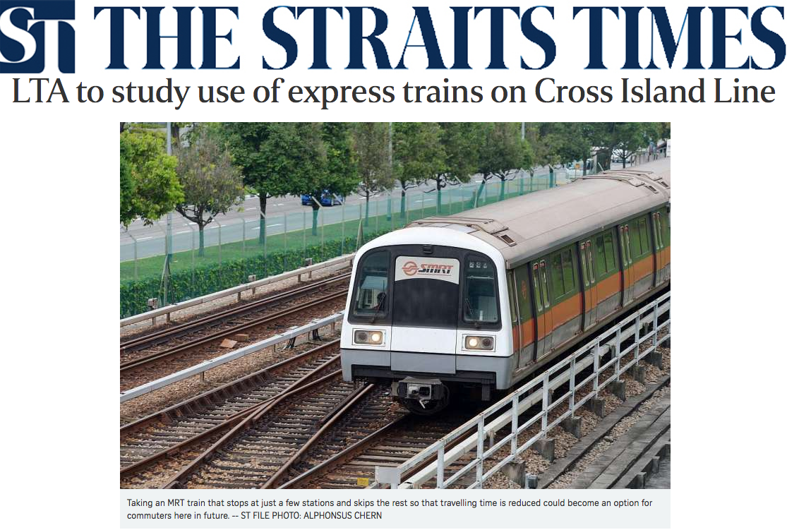 The Straits Times 2014 - LTA to study use of express trains on Cross Island Line
