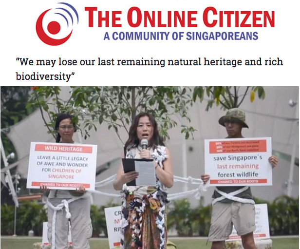 "The Online Citizen 2014 - ""We may lose our last remaining natural heritage and rich biodiversity"""