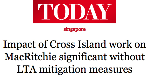 Today 2016 - Impact of Cross Island work on MacRitchie significant without LTA mitigation measures