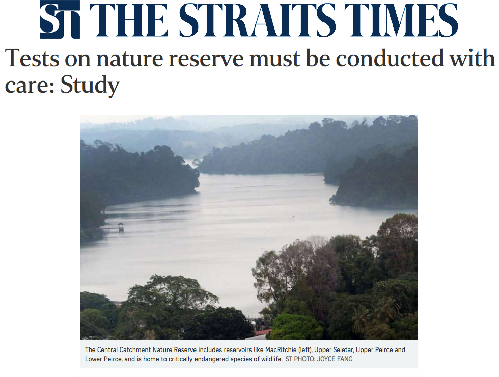 The Straits Times 2016 - Tests on nature reserve must be conducted with care: Study