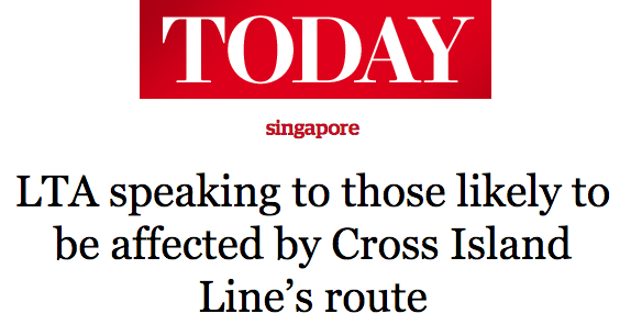 Today 2016 - LTA speaking to those likely to be affected by Cross Island Line's route