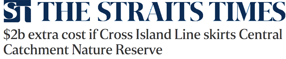 The Straits Times 2016 - $2b extra cost if Cross Island Line skirts Central Catchment Nature Reserve