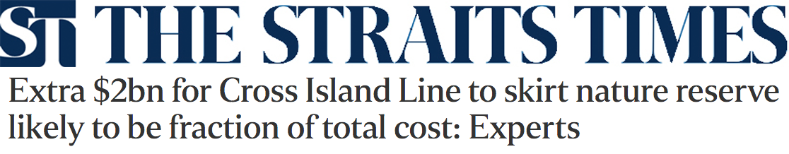 The Straits Times 2016 - Extra $2bn for Cross Island Line to skirt nature reserve likely to be fraction of total cost: Experts