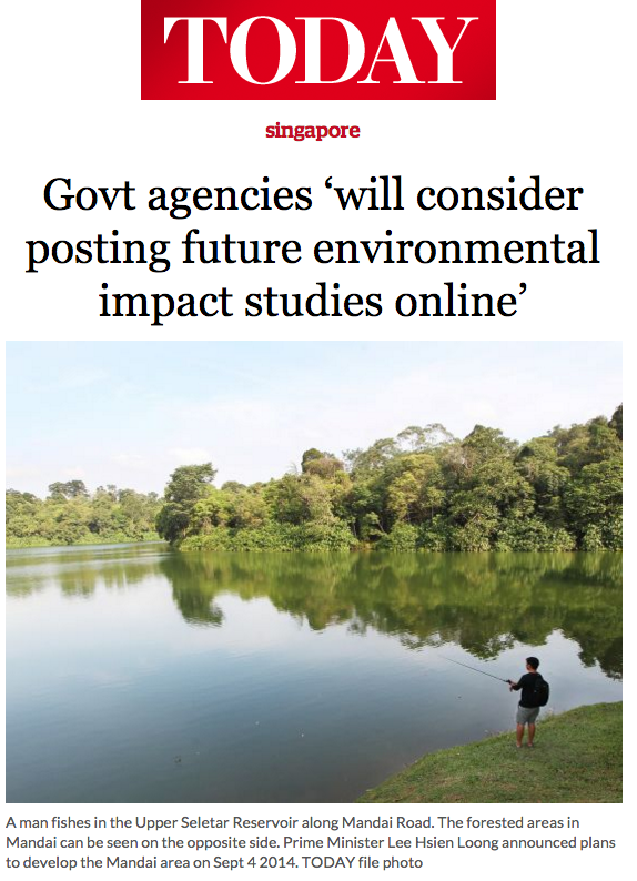 Today News 2016 - Govt agencies may post environmental impact studies online in future