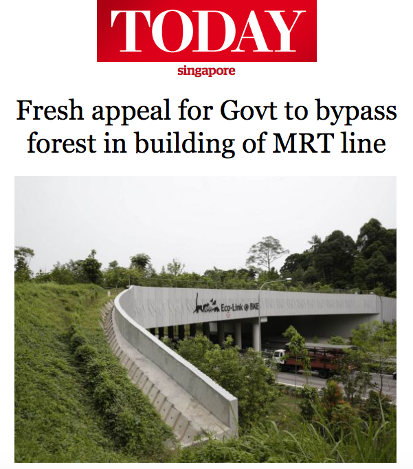 TODAY News 2016 - Fresh appeal for Govt to bypass forest in building of MRT line