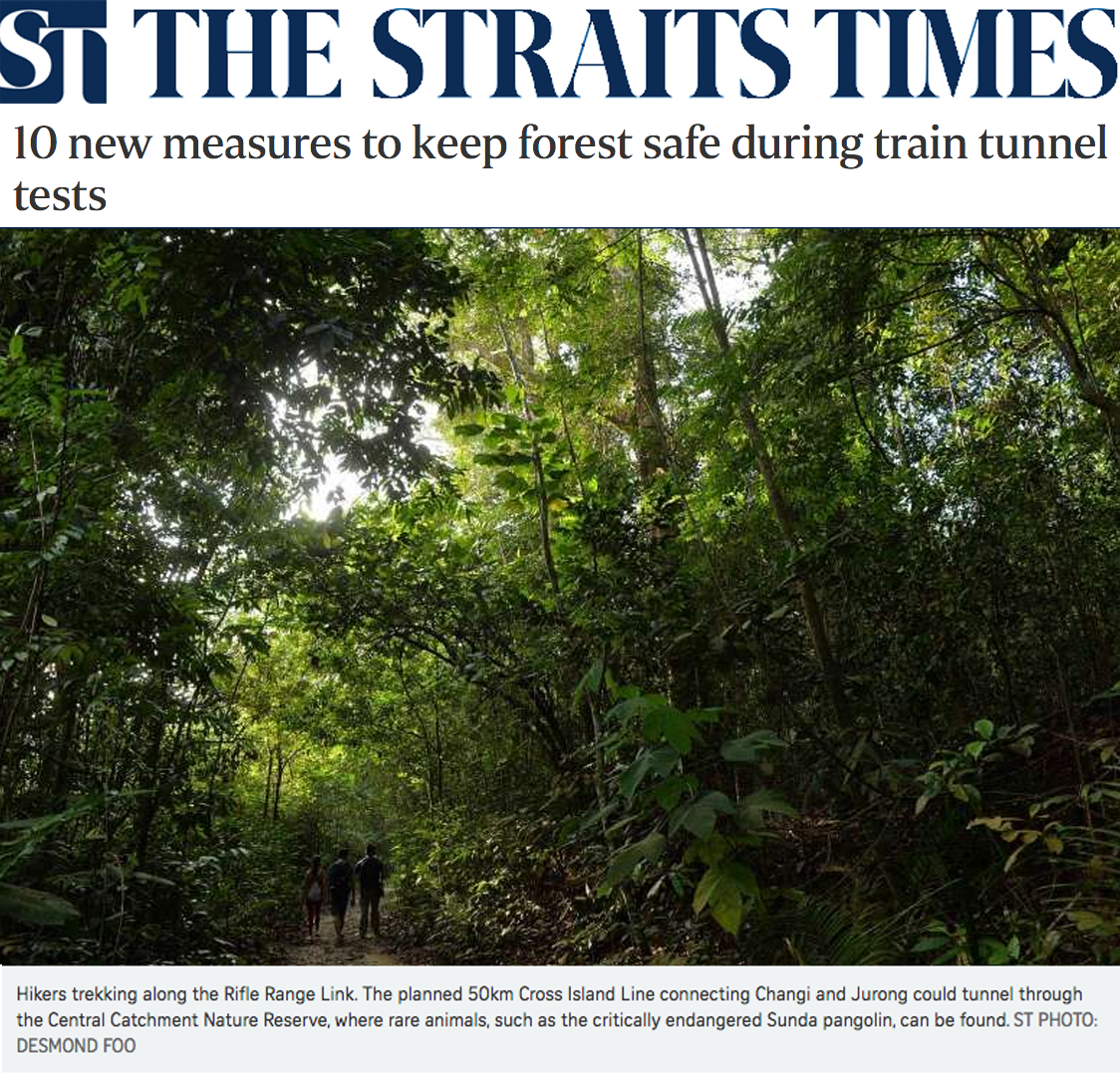 The Straits Times News 2016 - 10 new measures to keep forest safe during train tunnel tests