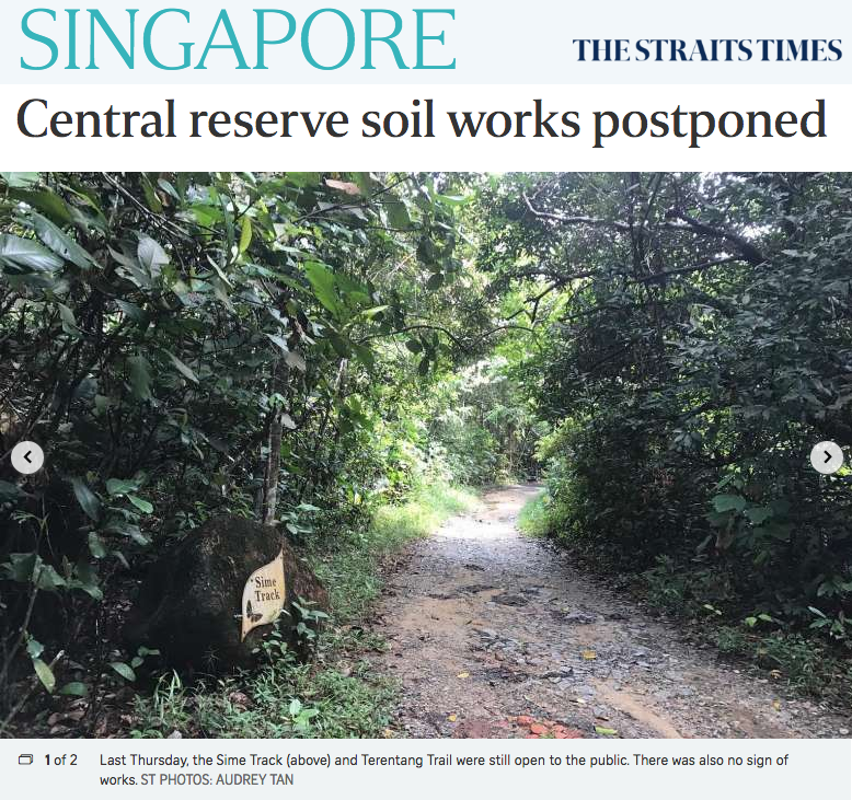 The Straits Times 2017 - Central reserve soil works postponed