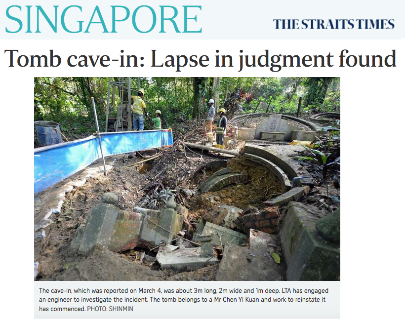 The Straits Times 2017 - Tomb cave-in: Lapse in judgment found