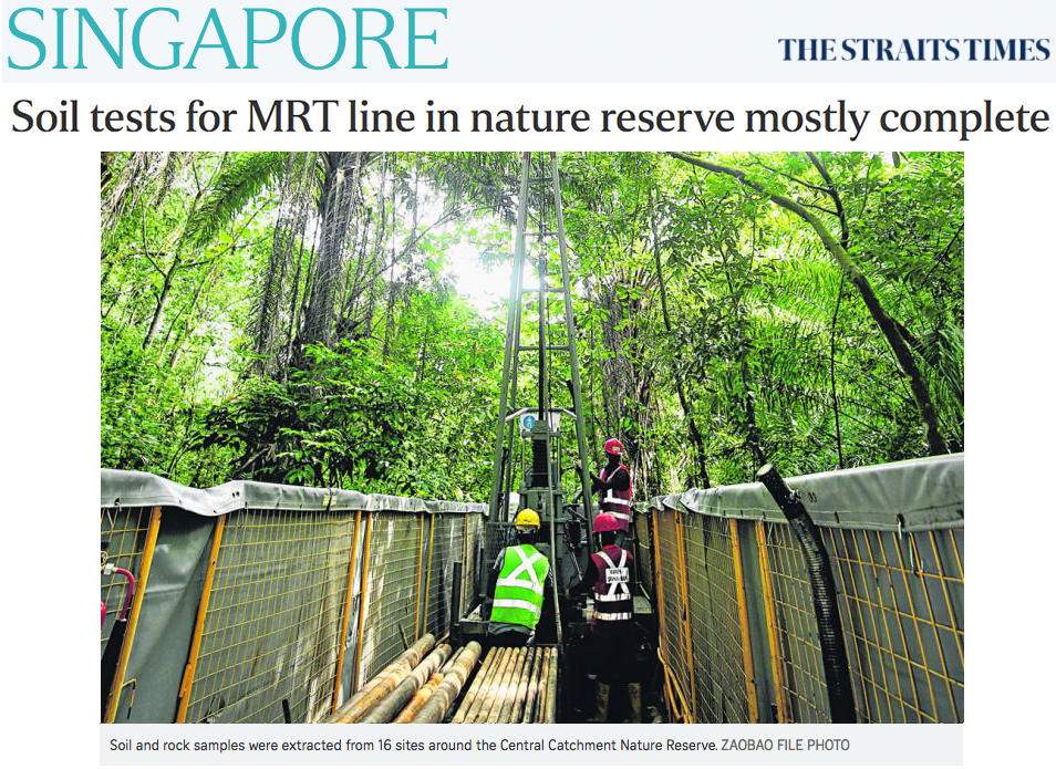 The Straits Times - Soil tests for MRT line in nature reserve mostly complete