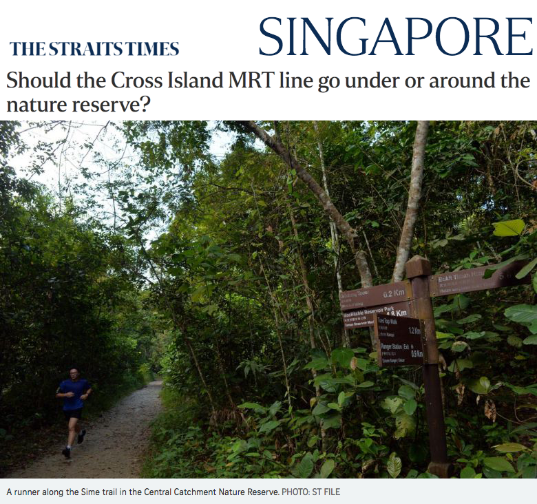 The Straits Times - Should the Cross Island MRT line go under or around the nature reserve?