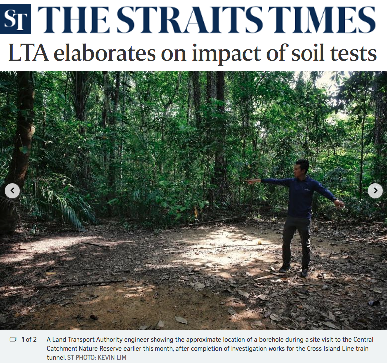 The Straits Times - LTA elaborates on impact of soil tests